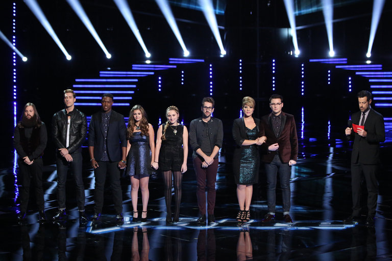 """THE VOICE -- """"Live Show"""" Episode 516B -- Pictured: (l-r) Cole Vosbury, Ray Boudreaux, Matthew Schuler, Jacquie Lee, Caroline Pennell, Will Champlin, Tessanne Chin, James Wolpert, Carson Daly -- (Photo by: Tyler Golden/NBC)"""