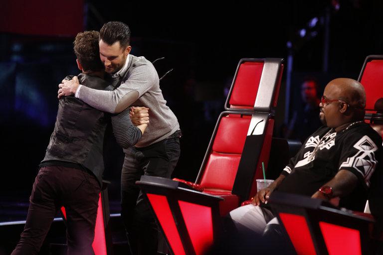 "THE VOICE -- ""Live Show"" Episode 516B -- Pictured: (l-r) Will Champlin, Adam Levine, CeeLo Green -- (Photo by: Trae Patton/NBC)"