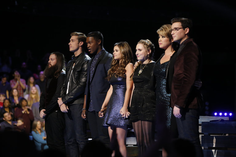 "THE VOICE -- ""Live Show"" Episode 516B -- Pictured: (l-r) Cole Vosbury, Ray Boudreaux, Matthew Schuler, Jacquie Lee, Caroline Pennell, Tessanne Chin, James Wolpert -- (Photo by: Trae Patton/NBC)"