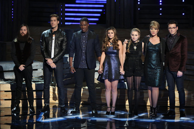"THE VOICE -- ""Live Show"" Episode 516B -- Pictured: (l-r) Cole Vosbury, Ray Boudreaux, Matthew Schuler, Jacquie Lee, Caroline Pennell, Tessanne Chin, James Wolpert -- (Photo by: Tyler Golden/NBC)"