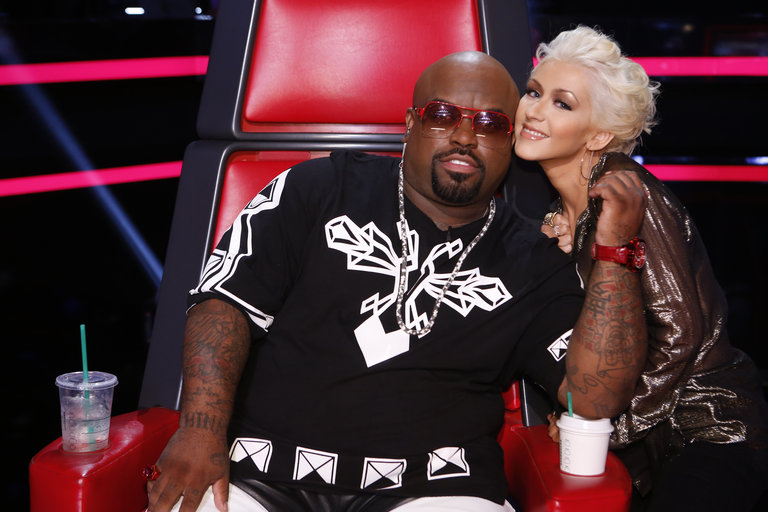 """THE VOICE -- """"Live Show"""" Episode 516B -- Pictured: (l-r) CeeLo Green, Christina Aguilera -- (Photo by: Trae Patton/NBC)"""