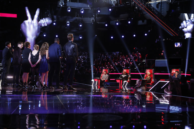 "THE VOICE -- ""Live Show"" Episode 516B -- Pictured: (l-r) Carson Daly, James Wolpert, Tessanne Chin, Caroline Pennell, Jacquie Lee, Matthew Schuler, Ray Boudreaux, Adam Levine, CeeLo Green, Christina Aguilera, Blake Shelton -- (Photo by: Trae Patton/NBC)"