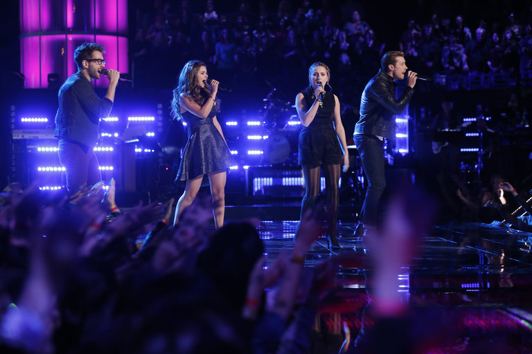 """THE VOICE -- """"Live Show"""" Episode 516B -- Pictured: (l-r) Will Champlin, Jacquie Lee, Caroline Pennell, Ray Boudreaux -- (Photo by: Trae Patton/NBC)"""