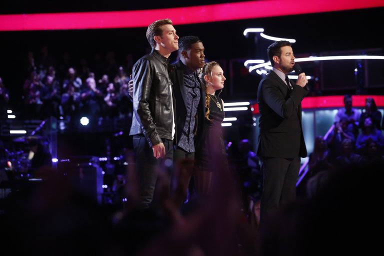 "THE VOICE -- ""Live Show"" Episode 516B -- Pictured: (l-r) Ray Boudreaux, Matthew Schuler, Caroline Pennell, Carson Daly -- (Photo by: Trae Patton/NBC)"