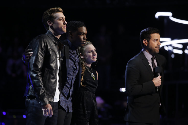 """THE VOICE -- """"Live Show"""" Episode 516B -- Pictured: (l-r) Ray Boudreaux, Matthew Schuler, Caroline Pennell, Carson Daly -- (Photo by: Trae Patton/NBC)"""