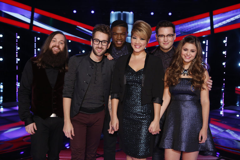 "THE VOICE -- ""Live Show"" Episode 516B -- Pictured: (l-r) Cole Vosbury, Will Champlin, Matthew Schuler, Tessanne Chin, James Wolpert, Jacquie Lee -- (Photo by: Trae Patton/NBC)"
