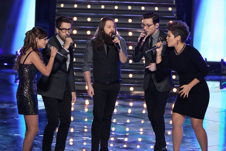 "In the semifinals, Tessanne joined her fellow contestants onstage for a group performance of the recent indie hit ""Best Day of My Life."""