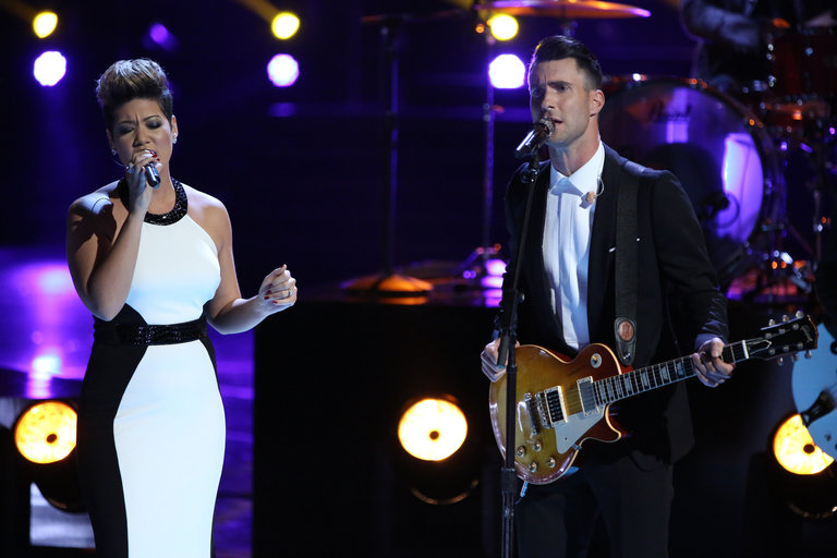 "Then Tessanne and her coach Adam Levine sang a moving duet of The Beatles' classic ""Let It Be."""