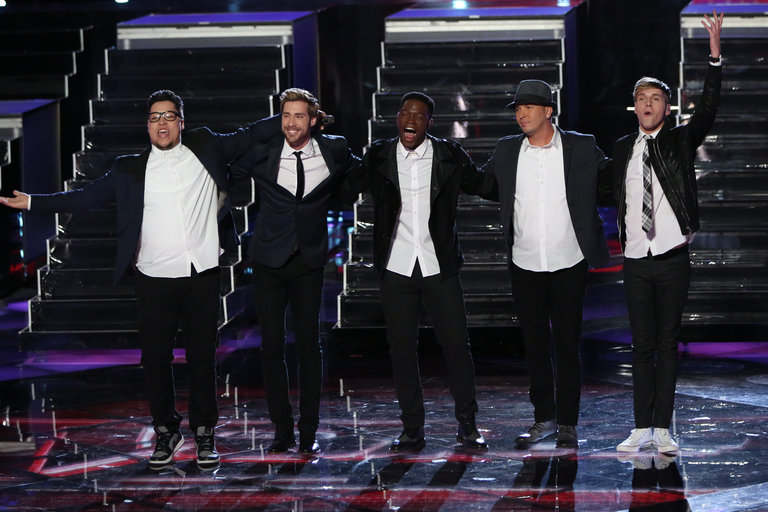 "THE VOICE -- ""Live Finale"" Episode 519B -- Pictured: (l-r) Preston Pohl, Ray Boudreaux, Matthew Schuler, Josh Logan, Nic Hawk -- (Photo by: Tyler Golden/NBC)"