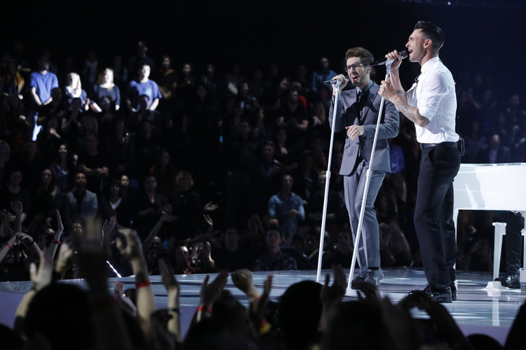 "THE VOICE -- ""Live Show"" Episode 519A -- Pictured: (l-r) Will Champlin, Adam Levine -- (Photo by: Trae Patton/NBC)"
