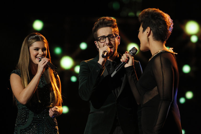 "THE VOICE -- ""Live Show"" Episode 519A -- Pictured: (l-r) Jacquie Lee, Will Champlin, Tessanne Chin -- (Photo by: Trae Patton/NBC)"