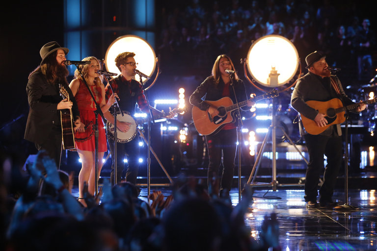 "THE VOICE -- ""Live Finale"" Episode 519B -- Pictured: (l-r) Cole Vosbury, Caroline Pennell, Will Champlin, Jonny Gray, Austin Jenckes -- (Photo by: Trae Patton/NBC)"