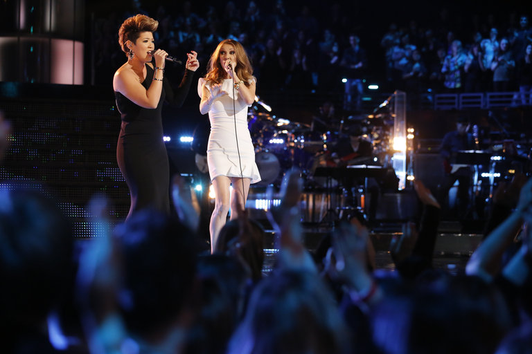 "Then Tessanne took the stage with powerhouse vocalist Celine Dion for a stunning duet of ""Love Can Move Mountains."" Not a bad way to close out her run on The Voice for the longtime reggae backup singer!"