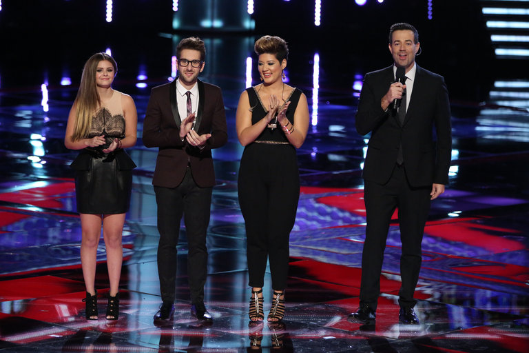"THE VOICE -- ""Live Show"" Episode 519A -- Pictured: (l-r) Jacquie Lee, Will Champlin, Tessanne Chin, Carson Daly -- (Photo by: Tyler Golden/NBC)"