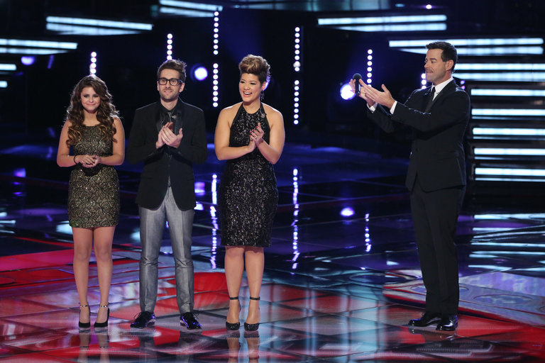 "THE VOICE -- ""Live Finale"" Episode 519B -- Pictured: (l-r) Jacquie Lee, Will Champlin, Tessanne Chin, Carson Daly -- (Photo by: Tyler Golden/NBC)"