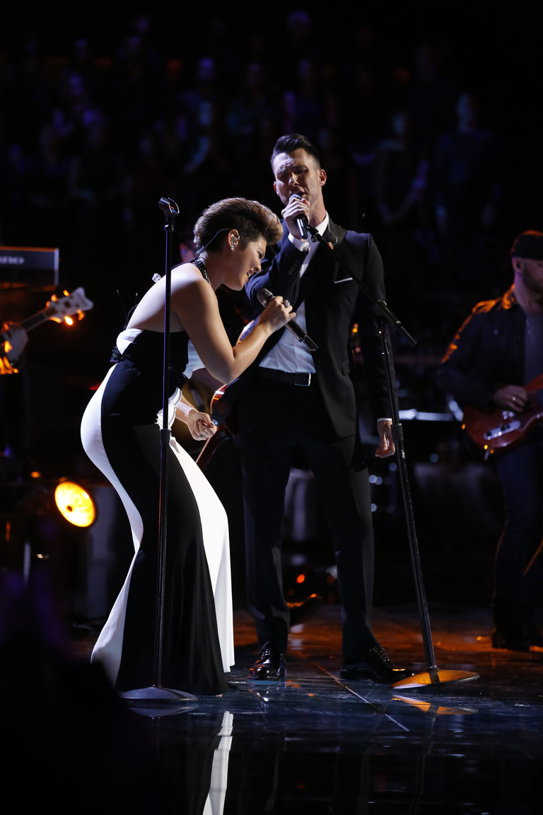 "THE VOICE -- ""Live Show"" Episode 519A -- Pictured: (l-r) Tessanne Chin, Adam Levine -- (Photo by: Trae Patton/NBC)"
