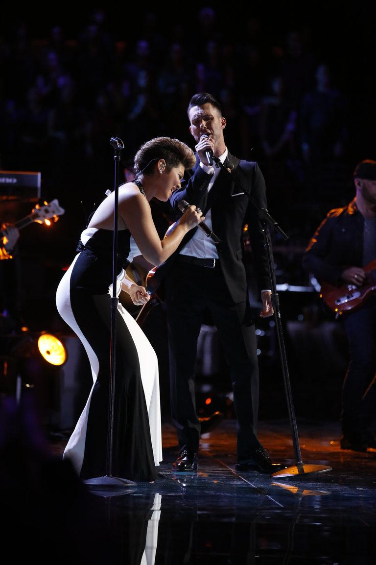"THE VOICE -- ""Live Show"" Episode 519A -- Pictured: (l-r) Tessanne Chin, Adam Levine -- (Photo by: Trae Patton/NBC)"