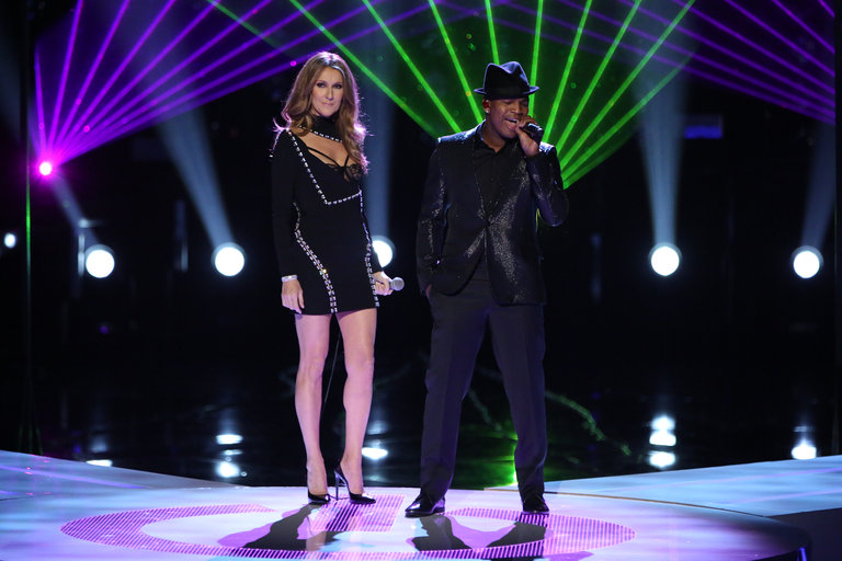 "THE VOICE -- ""Live Finale"" Episode 519B -- Pictured: (l-r) Celine Dion, Ne-Yo -- (Photo by: Tyler Golden/NBC)"