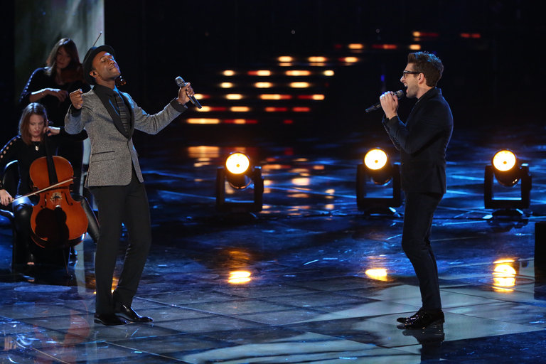 "THE VOICE -- ""Live Finale"" Episode 519B -- Pictured: (l-r) Aloe Blacc, Will Champlin -- (Photo by: Tyler Golden/NBC)"