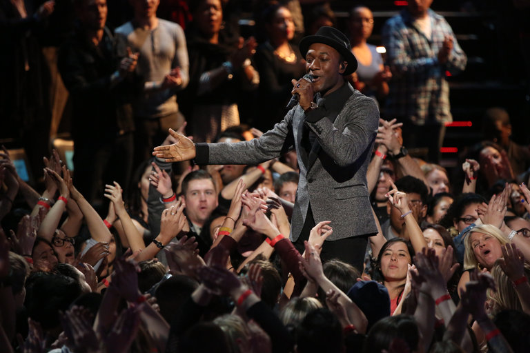 "THE VOICE -- ""Live Finale"" Episode 519B -- Pictured: Aloe Blacc -- (Photo by: Tyler Golden/NBC)"