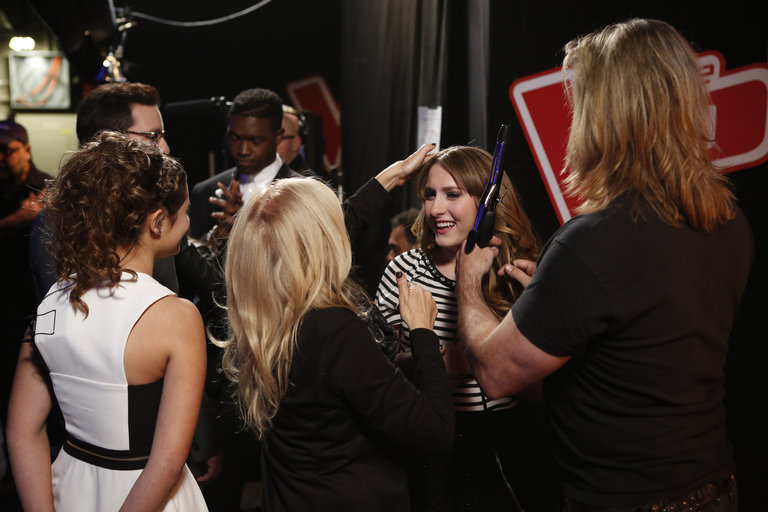 "THE VOICE -- ""Live Show BTS"" Episode 516A -- Pictured: (l-r) -- (Photo by: Ben Cohen/NBC)"