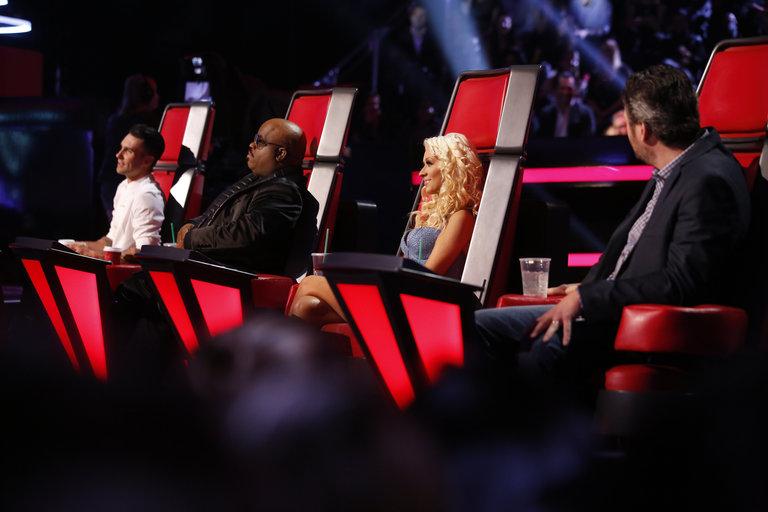 "THE VOICE -- ""Live Show"" Episode 519A -- Pictured: (l-r) Adam Levine, CeeLo Green, Christina Aguilera, Blake Shelton -- (Photo by: Trae Patton/NBC)"