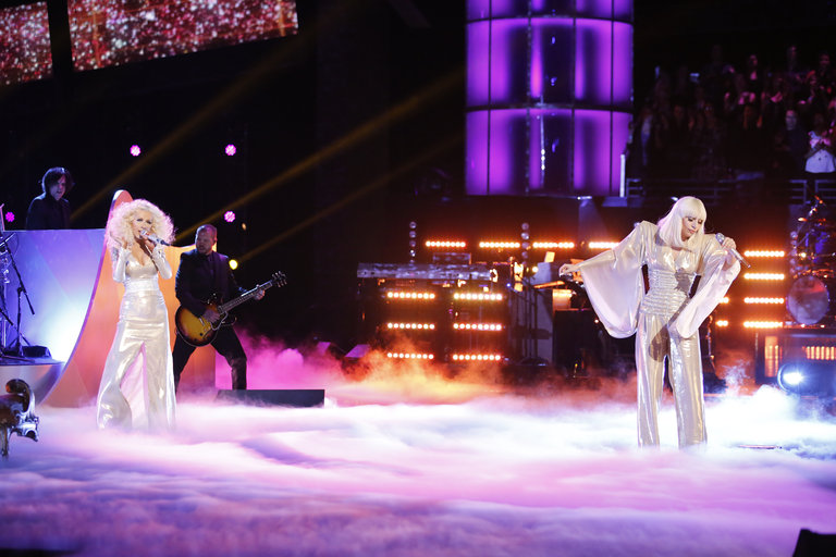 "THE VOICE -- ""Live Finale"" Episode 519B -- Pictured: (l-r) Christina Aguilera, Lady Gaga -- (Photo by: Trae Patton/NBC)"