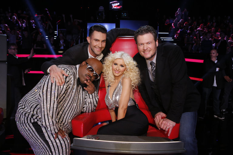 "THE VOICE -- ""Live Finale"" Episode 519B -- Pictured: (l-r) CeeLo Green, Adam Levine, Christina Aguilera, Blake Shelton -- (Photo by: Trae Patton/NBC)"