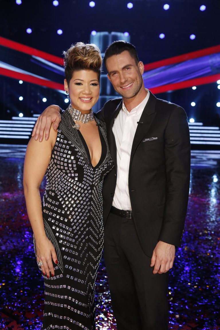 "THE VOICE -- ""Live Finale"" Episode 519B -- Pictured: (l-r) Tessanne Chin, Adam Levine  -- (Photo by: Trae Patton/NBC)"