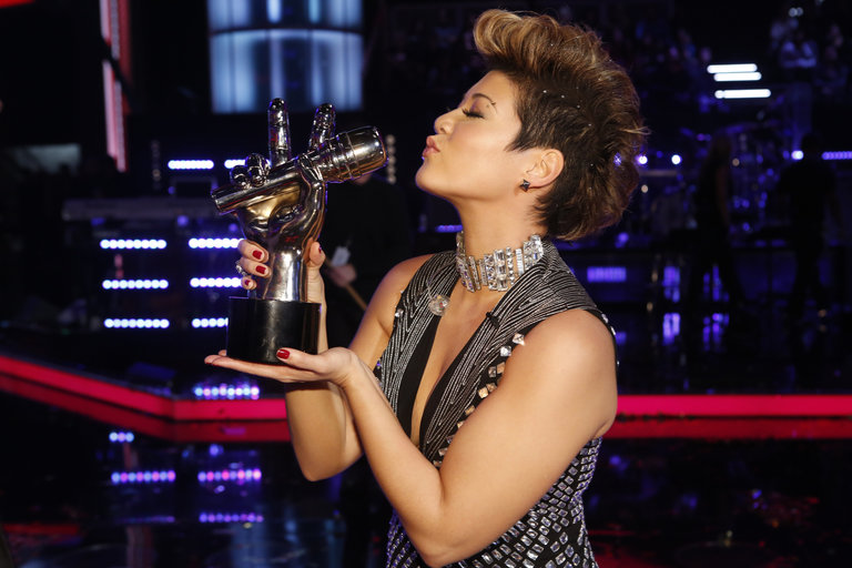 "THE VOICE -- ""Live Finale"" Episode 519B -- Pictured:  Tessanne Chin  -- (Photo by: Trae Patton/NBC)"