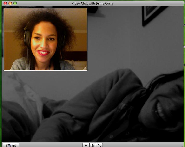 """What? Does my hair look weird?"" #Skype"