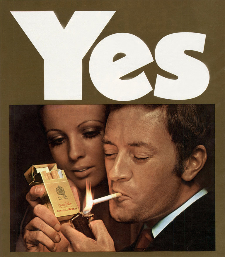 Advertising for Benson and Hedges cigarettes in February 1970