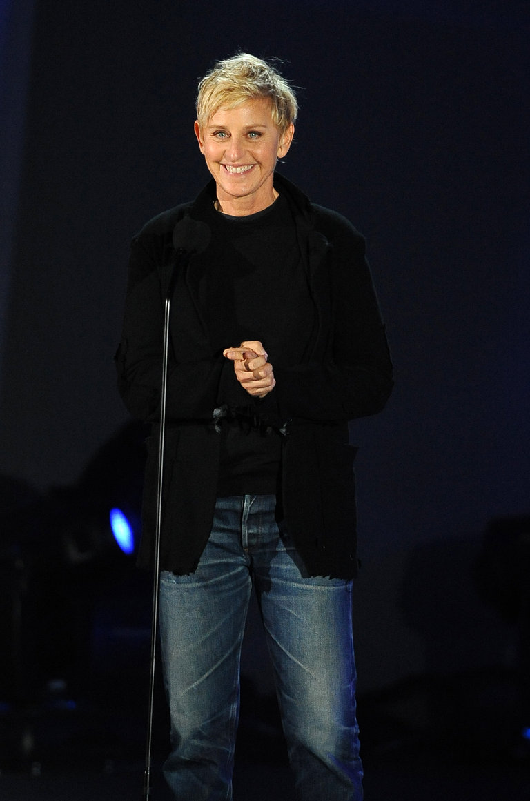 Comedian Ellen Degeneres speaks at the C