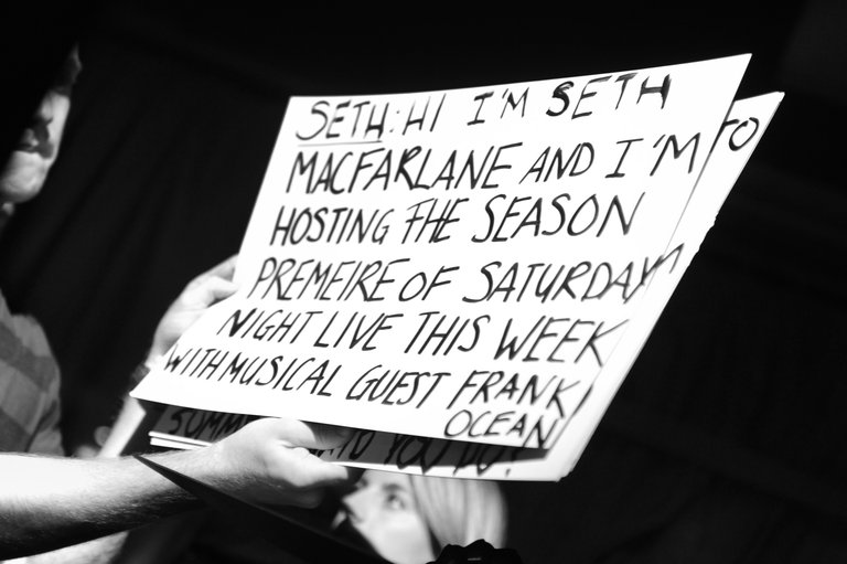 Cue cards for the weekly promos with host Seth MacFarlane.