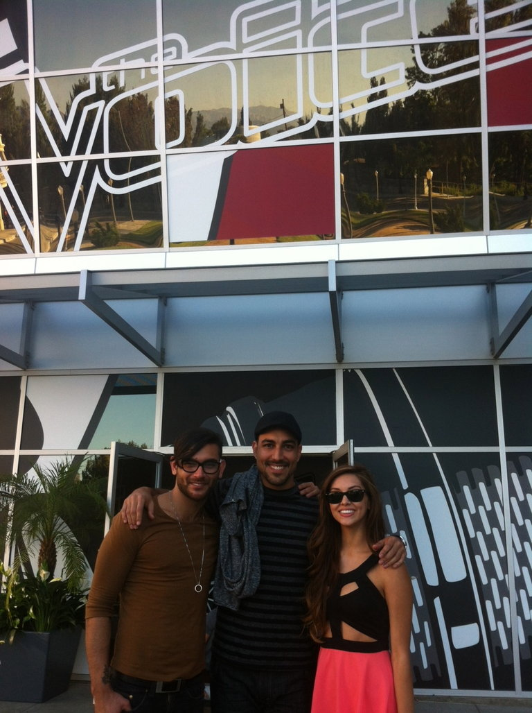Diego Val, Andres, and me on the day of blind auditions!
