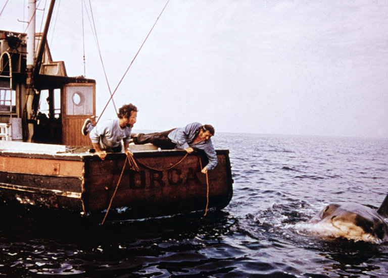 Dreyfuss and Shaw Fishing in 'Jaws,' 1975.
