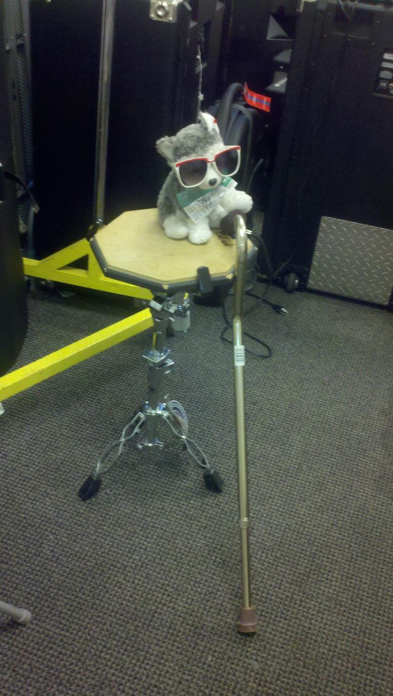 He thinks he's invisible. Slush, somebody needs that walking stick!