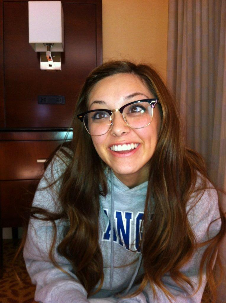 Lookin' geeky in Mac's super cool specs.