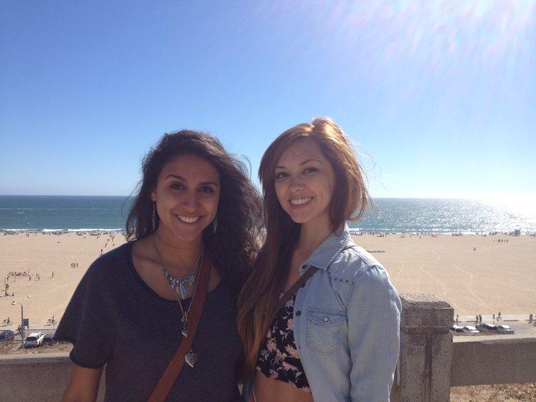 My fellow teammate Sylvia Yacoub and I at Santa Monica beach!