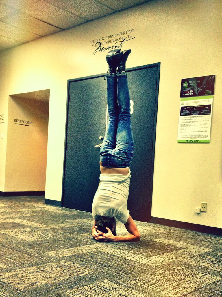Nathan's notorious headstand...