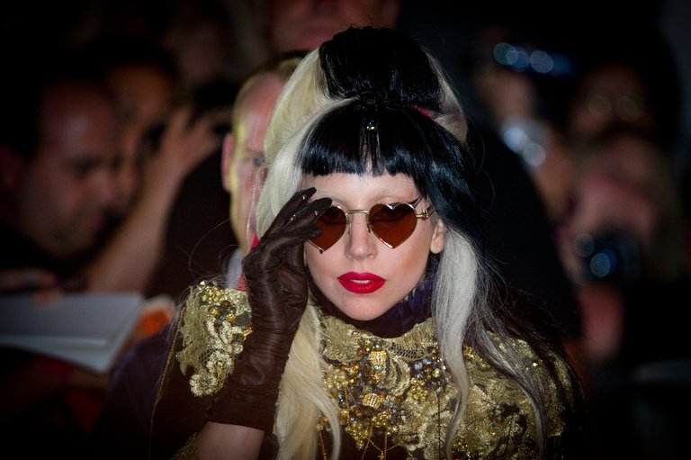 US singer Lady Gaga leaves the set of Ca