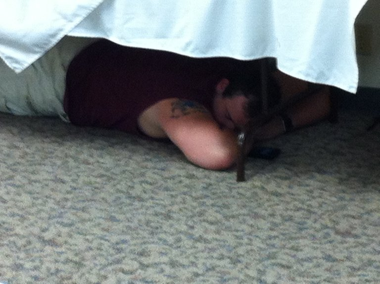 We nap under tables. Perfectly normal!