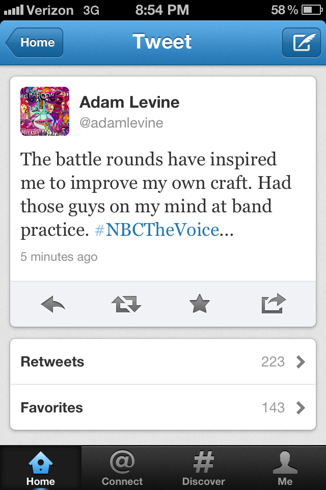 adam levine battle round tweet
