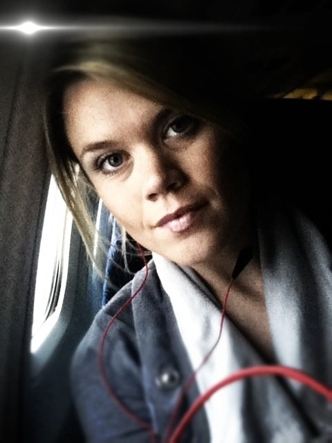 headphones on the plane.