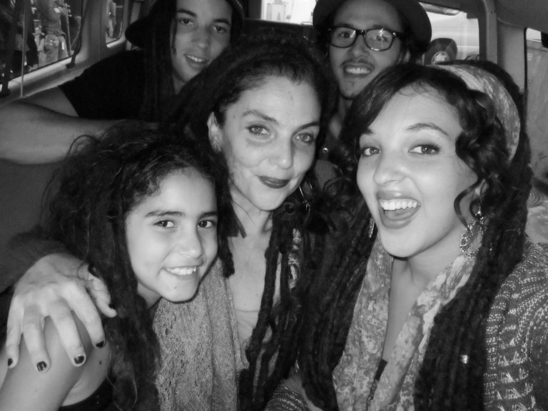 me and my family in the car