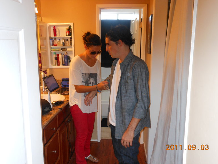 My Sister/stylist getting me ready for my call back audition