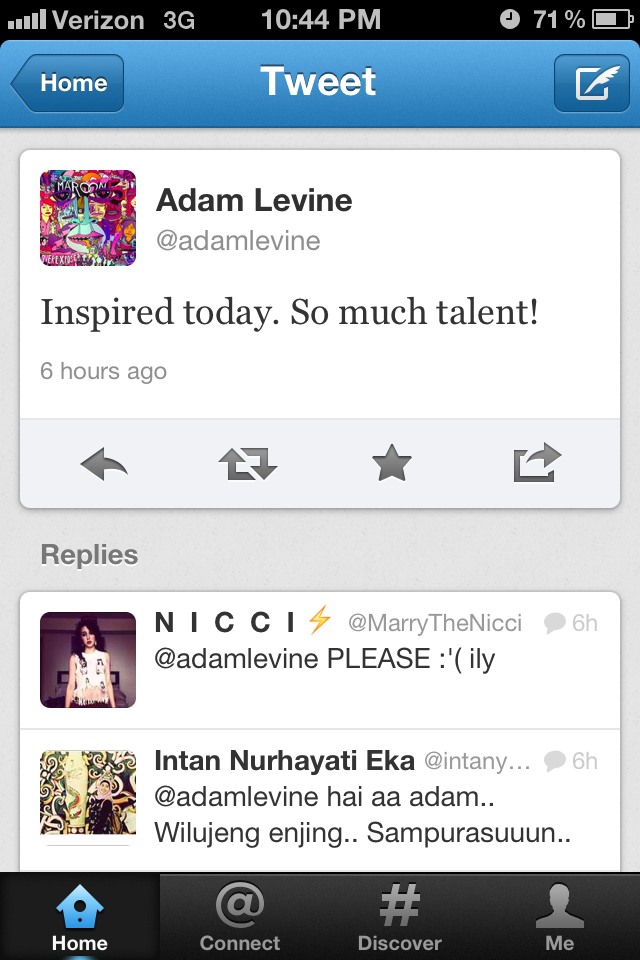 tweet from adam after mentor rehearsal