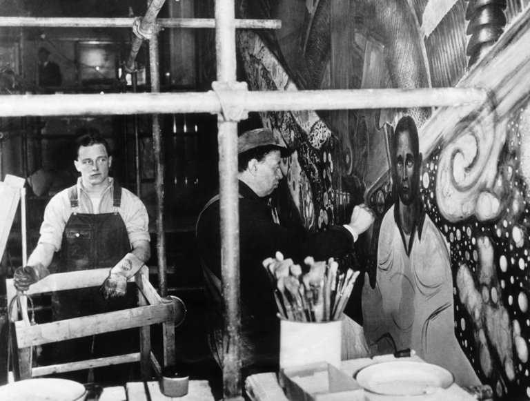 Diego Rivera And Hugh Curry Jr In New York