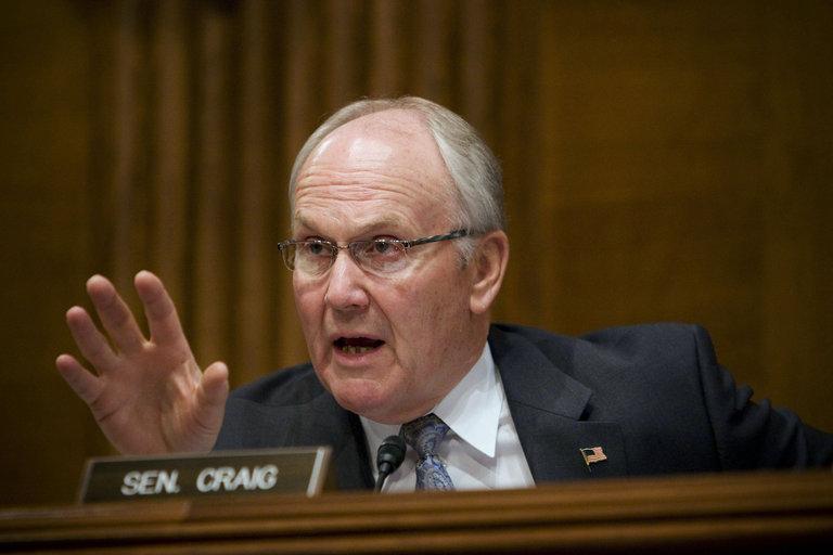 Larry Craig, U.S. senator from Idaho, speaks during a U.S. S