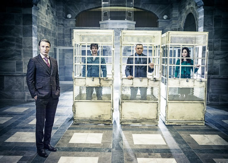 Pictured: (l-r) Mads Mikkelson as Dr. Hannibal Lecter, Hugh Dancy as Will Graham, Laurence Fishburne as Jack Crawford, Caroline Dhavernas as Dr. Alana Bloom -- (Photo by: Michael Muller/NBC/NBCU Photo Bank)